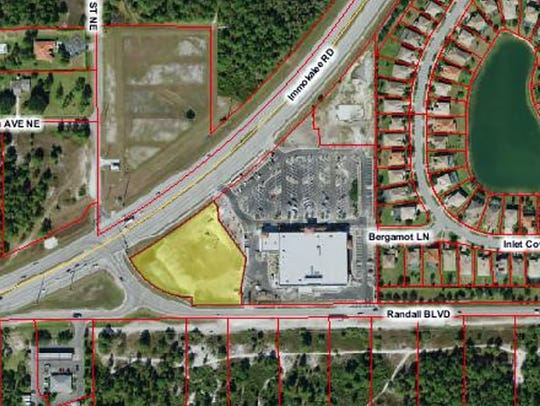 CVS Pharmacy recently began construction on a store on a lot, shaded yellow on this map, in the Neighborhood Shoppes at Orangetree on the corner of Immokalee Road and Randall Boulevard in northern Golden Gate Estates.