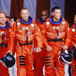 "A scene from the film ""Armageddon"" with Steve Buscemi, left, Wil Patton, Bruce Willis, Michael Duncan, Ben Affleck and Owen Wilson."
