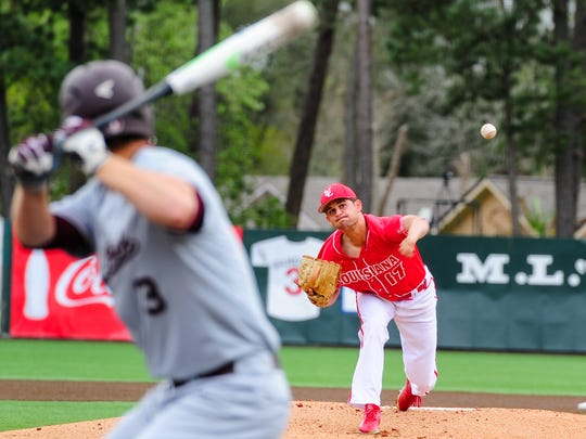 Starter Gunner Leger throws during UL's 15-4 win over Little Rock on Saturday at The Tigue.