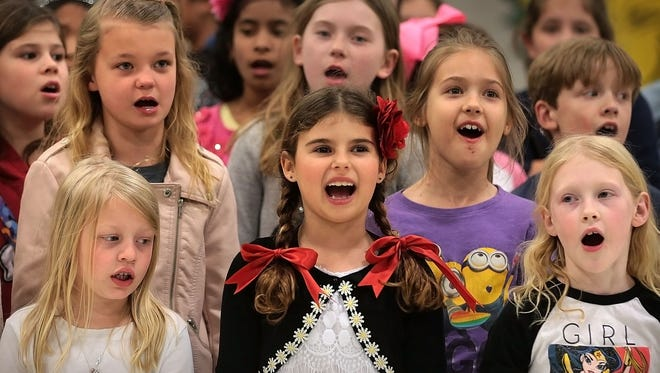 Farmington Elementary students sing during the school's annual Multi-Cultural Festival in 2017. The Germantown Municipal School District has decided on its zoning plan for the 2019-20 school year.