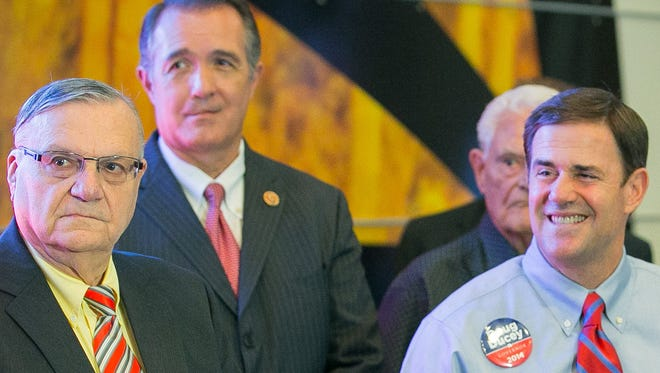 Former Sheriff Joe Arpaio, former Rep. Trent Franks and then-GOP candidate Doug Ducey