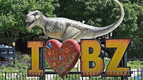 A Tyrannosaurus rex waits to be discovered at the zoo near Chicago.