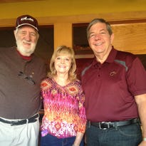 Serving at the Northeast Monroe Rotary Club's pancake breakfast fundraiser at Applebee's recently were, from left, Don O'Toole, Judy Hilton and Gary Roshto.