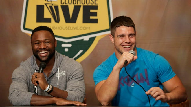Green Bay Packers wide receiver Ty Montgomery (left) debuts as the co-host of Clubhouse Live during Monday's show in Appleton. Packers rookie linebacker Blake Martinez was Montgomery's guest. Watch a replay of the show at clubhouselive.com.