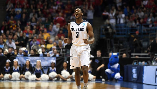 Butler Bulldogs guard Kamar Baldwin (3) celebrates after defeating the Middle Tennessee Blue Raiders in the second round of the 2017 NCAA Tournament at BMO Harris Bradley Center.