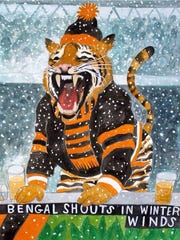 """A CincyInk mural of """"Bengal shouts in winter winds"""""""