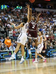 Mississippi State's Morgan William (2) hits the game