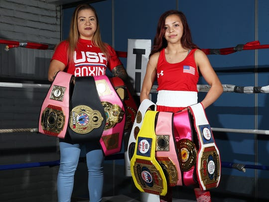 Crystal Aceves, left, stands with her daughter, Kayla Gomez, then 14, who is following her mother's footsteps into the ring.