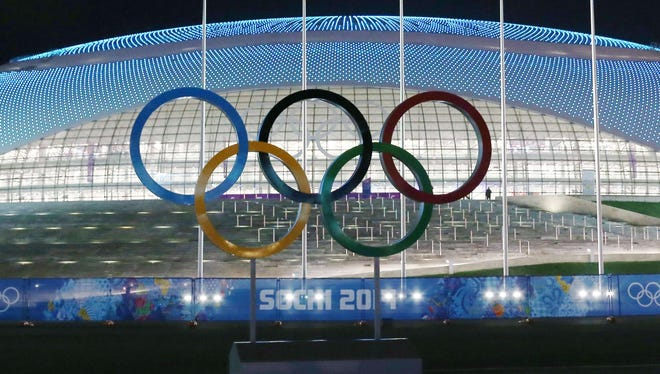 View of the Olympic rings in front of the Bolshoy Ice Dome prior to the start of the 2014 Sochi Winter Olympics.