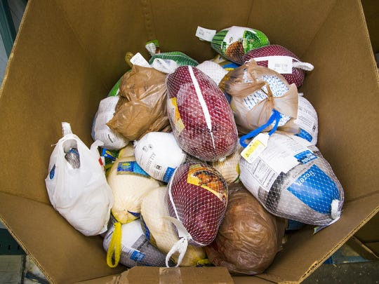 Donated turkeys inside the United Food Bank, 245 S.