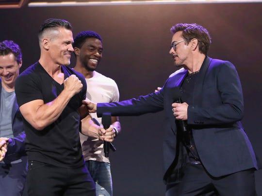 Josh Brolin, left, and Robert Downey Jr. jokingly face