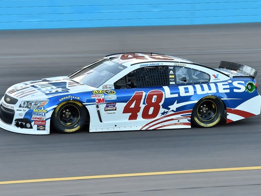 Jimmie Johnson during qualifying for the Quicken Loans Race For Heroes