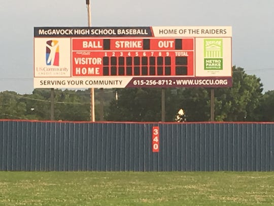 A new scoreboard has been installed at McGavock's baseball field.