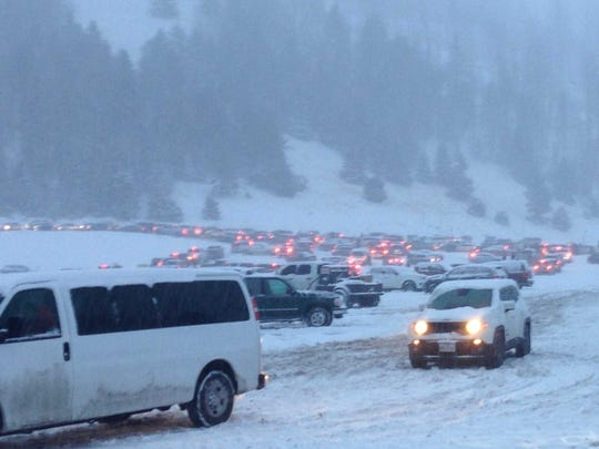 Ski Run Road was closed to uphill traffic early afternoon Sunday by NMDOT.