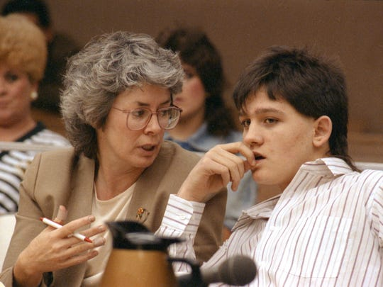 Dubuque County public defender Mary Kelley speaks with her client, Sean Rhomberg, 16, druing the second day of his trial in October 1992 in Waterloo, Iowa. Rhomberg was eventually convicted in the murder of Marion Carpentier, 70, of Dubuque.
