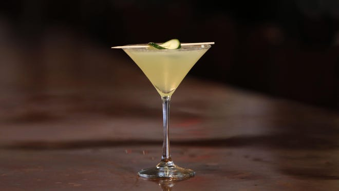 A Mediterranean Detox, a re-mixed version of a martini, made by Paul Ritto at 8 North Broadway in Nyack.