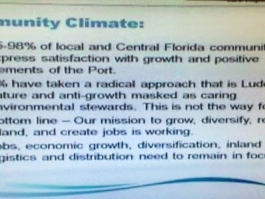 Port Canaveral Chief Executive Officer John Walsh's PowerPoint slide that referred to Luddites. DAVE BERMAN/FLORIDA TODAY