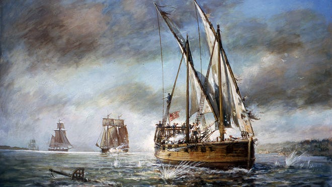 A course from July 5-July 7 will feature an on-water adventure to Valcour Bay, where a pivotal battle of the Revolutionary War took place in 1776. Painting by Ernest Haas at the Lake Champlain Maritime Museum gallery shows aftermath of the battle.