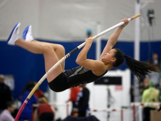 South Brunswick's Maggie Kaplan competes in the pole vault at the NJSIAA Group IV relay championships.