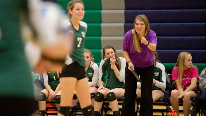 Brown City coach Jenna Welke instructs players from the sidelines during a match last season.
