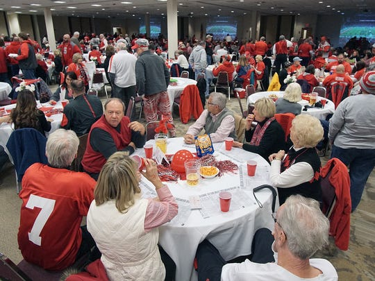 The Mid-Ohio Conference Center gets packed full of OSU fans during the Buckeye Bash on Monday.