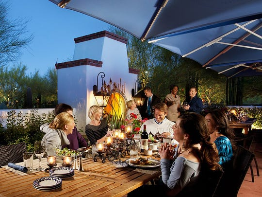 Catch scenic desert views of Camelback and Mummy mountains from the patio at El Chorro Lodge in Paradise Valley.