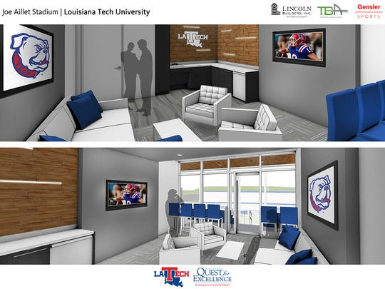 Renderings of the new suites at Louisiana Tech.