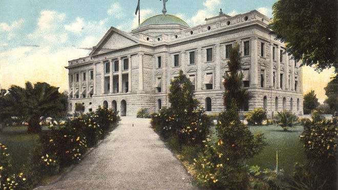 """""""Hail to Arizona,"""" the territory's first official anthem debuted in 1901 ceremonies at the dedication of the Capitol building, shown in this early postcard."""