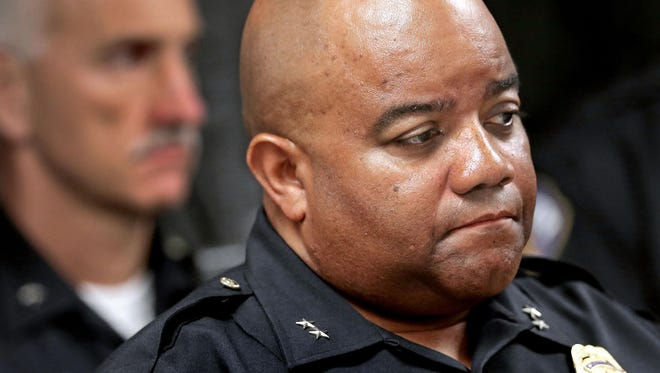 """IMPD Chief Rick Hite seemed pleased that the conversation Tuesday, Aug. 25, 2015, involved an audience that police said numbered as many as 50 people. """"We are on the cusp of change in our city,"""" he said."""