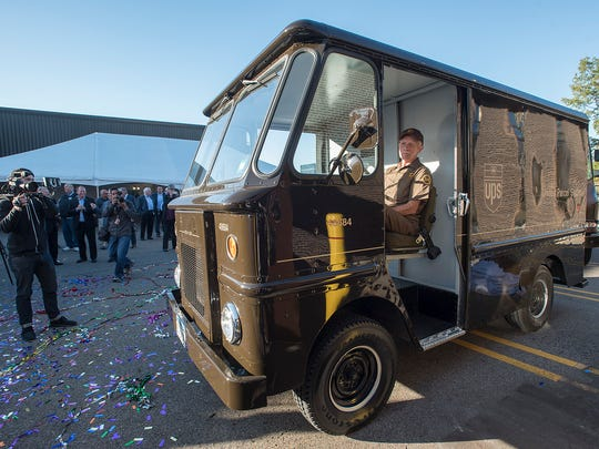 """Tom Camp, sitting in the restored delivery van, named the """"Tom Camp Special"""". The excitement is over, and Tom will soon go back on the road again, beginning his 56th year without an accident."""