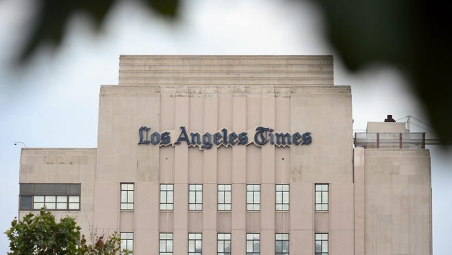 The Los Angeles Times Building in downtown Los Angeles in this July 10, 2013, file photo.