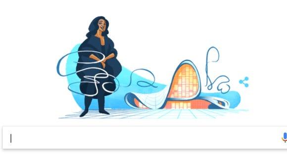 The latest Google Doodle honoring architect Zaha Hadid.