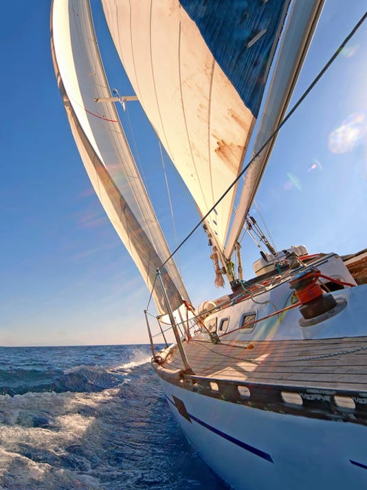 Close up view of a sailing yacht boat on the ocean