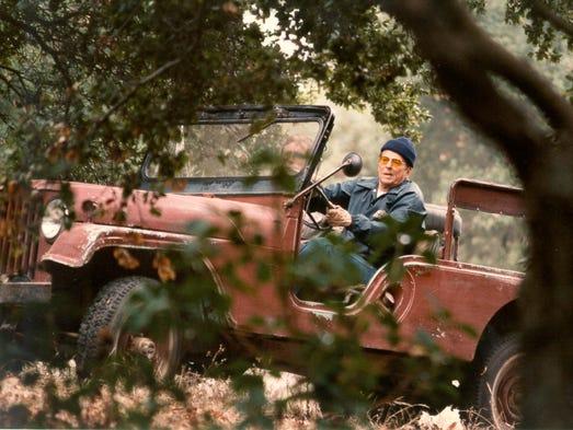 President Ronald Reagan in his 1962 Jeep CJ-6 at Rancho