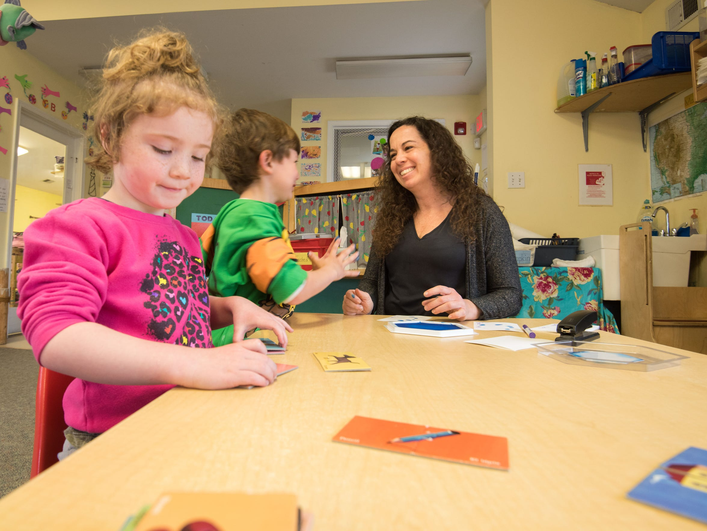 4/16/18-  Pre-K teacher Sarah Russo works with students