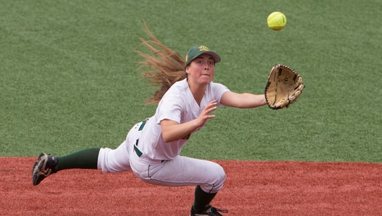 Red Bank Catholic's Anne Fiego makes a diving catch