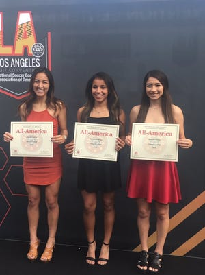 Ventura College sophomores Janelle Garcia (left), Melissa Cardenas (middle) and Jennifer Orozco were named second-team All-Americans by the National Soccer Coaches Association of America last week at the body's annual convention in Los Angeles.