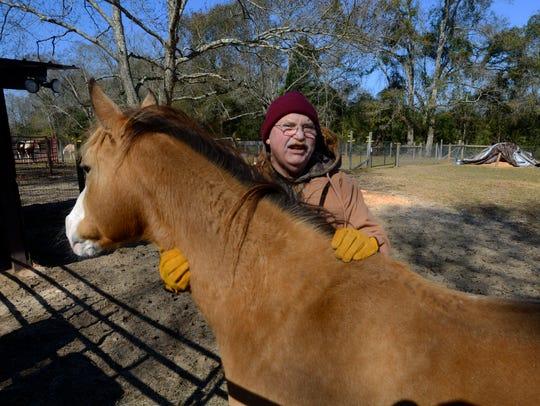 Volunteer Tony Stepleton pets Bootsy, Saturday at Panhandle