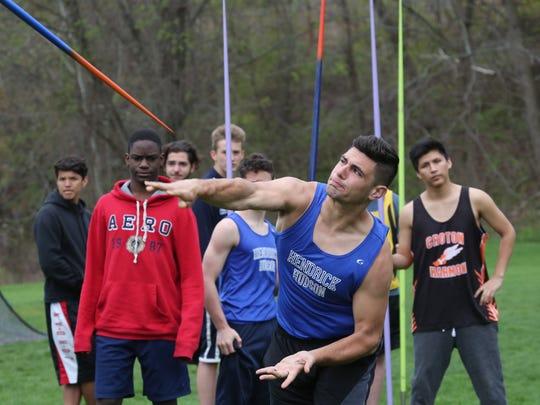 Jacob Anstett from Hendrick Hudson HS, throws the javelin