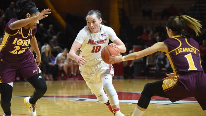 Marist's Maura Fitzpatrick, center, heads for the net during a Jan. 26 game against Iona.