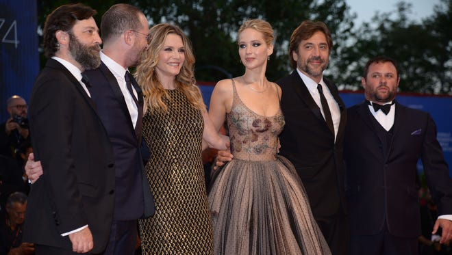 "From left : producer Ari Handel, director Darren Aronofsky, US actress Michelle Pfeiffer, US actress Jennifer Lawrence, Spanish actor Javier Bardem and producer Scott Franklin attend the premiere of the movie ""Mother"" presented in competition at the 74th Venice Film Festival on September 5, 2017 at Venice Lido."