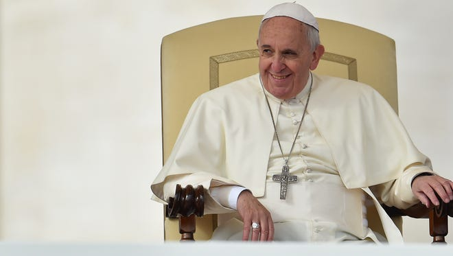 Pope Francis gives a general audience at St Peter's Square on Oct. 29, 2014 at the Vatican.