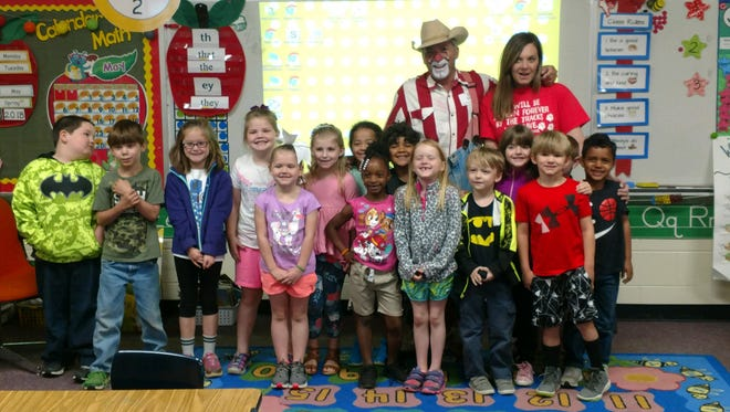 Rodeo entertainer Sid McKissick visits students at Eclectic Elementary School on Tuesday, May 1, 2018, prior to Friday and Saturday's first Wetumpka FFA Championship Rodeo.