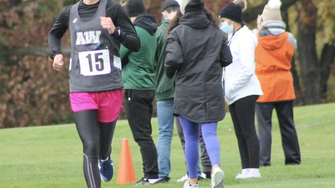 Annawan-Wethersfield freshman Kennady Anderson approaches the 2-mile mark on Saturday of the Class 1A regional held at Saukie Golf Course in Rock Island. Anderson finished second overall.