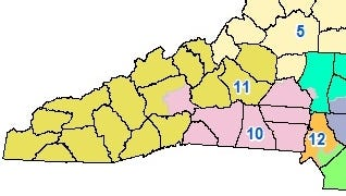 The 10th and 11th congressional districts cover most of Western North Carolina.