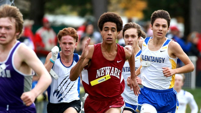 Monte Street sprints the last hundred meters of the Division I district meet to place 40th with a time of 17:15.06. The Newark cross country team placed 4th in their section, qualifying them to advance to the regional meet next week.