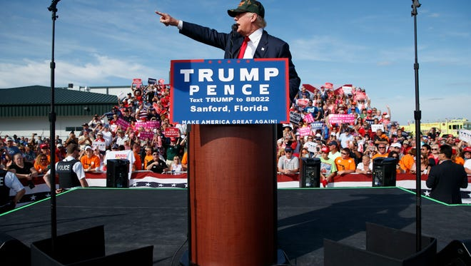 Republican presidential candidate Donald Trump speaks during a campaign rally, Tuesday, Oct. 25, 2016, in Sanford, Fla. (AP Photo/ Evan Vucci)