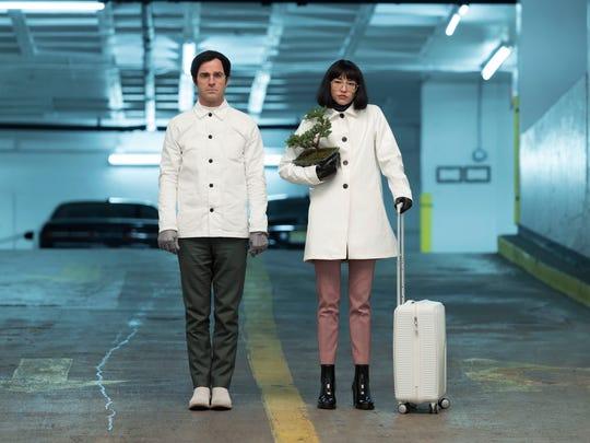 "Dr. Mantleray (Justin Theroux) and  Dr. Fujita (Sonoya Mizuno) in ""Maniac."""