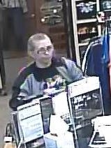 An image provided by the Benton County Sheriff's Office shows a female suspect sought in a theft investigation.