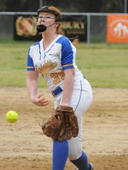 Sophomore pitcher Kaisey Reed delivers a pitch to Salisbury Christian during Sussex Central's 13-0 win on Wednesday, April 27 in Salisbury, Maryland.